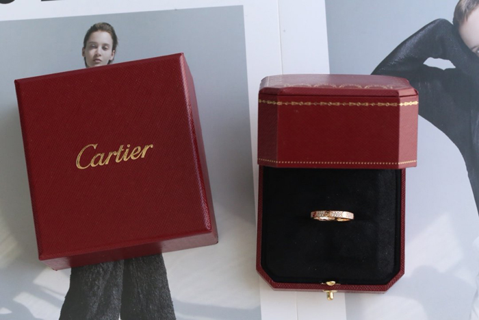 CARTIER LOVE RING SM ROSE GOLD PAVED DIAMONDS