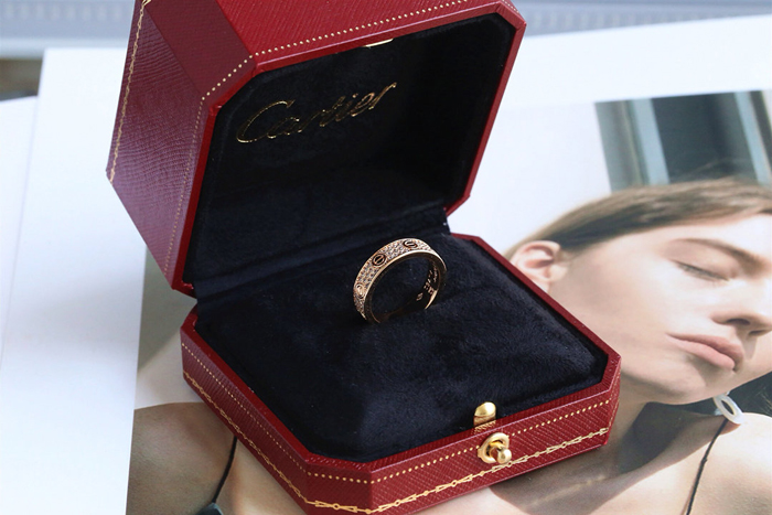CARTIER LOVE RING SM PINK GOLD PAVED DIAMONDS
