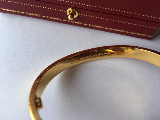 Cartier LOVE bracelet with Great Cartier Markings and Engravings