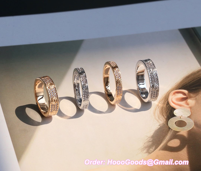 CARTIER LOVE PAVED DIAMONDS RING YELLOW GOLD, WHITE GOLD, PINK GOLD