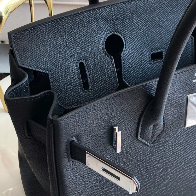 HERMES Birkin 30 Epsom leather Black with silver hardware