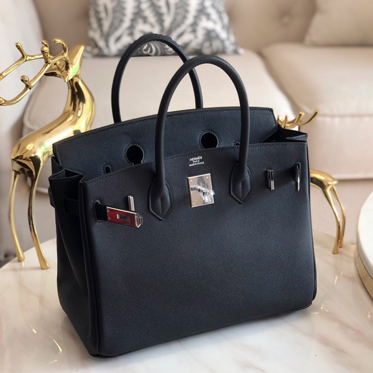 HERMES Birkin 30 Epsom leather Black SHW Handbag